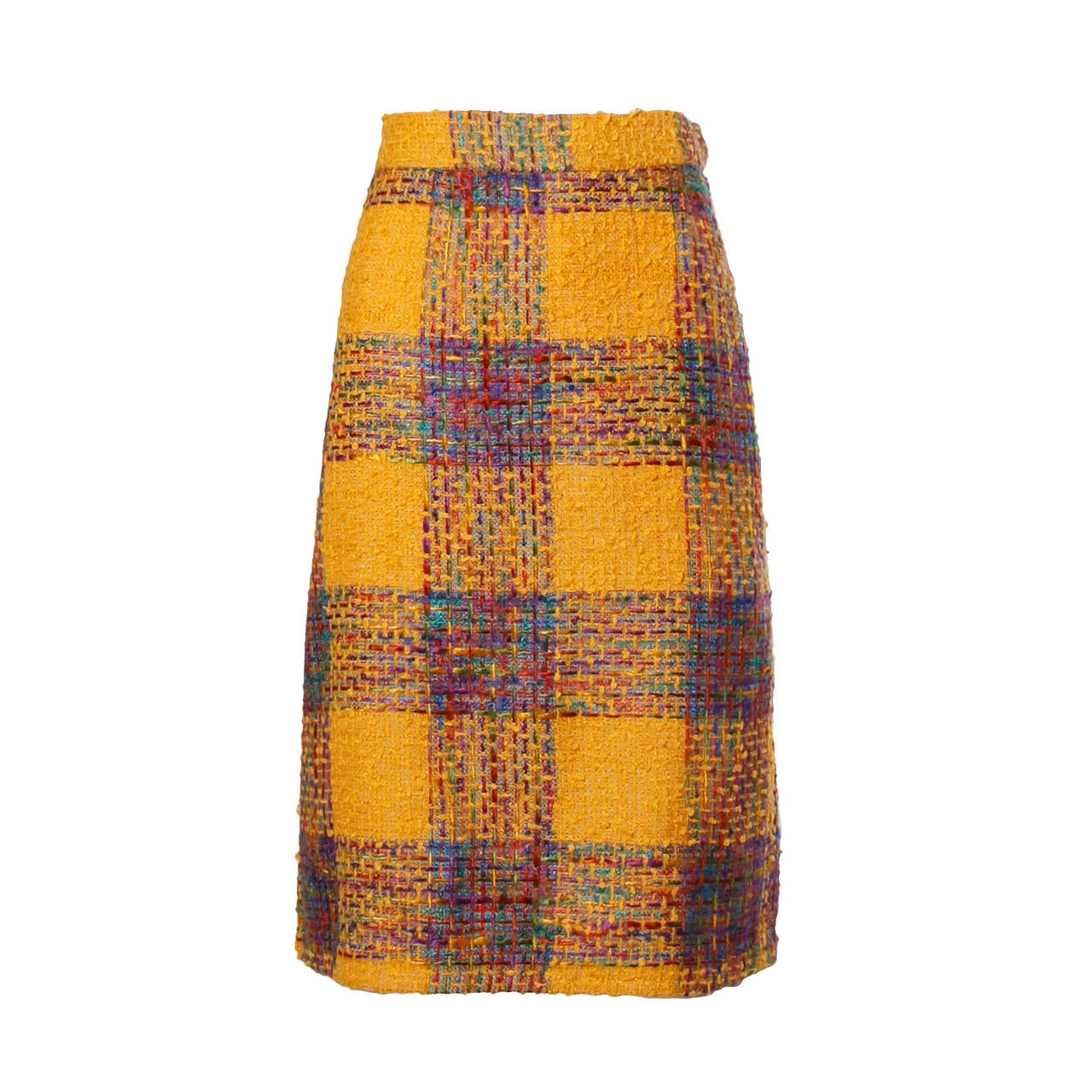 Valentino Vintage Rainbow Plaid Skirt 1