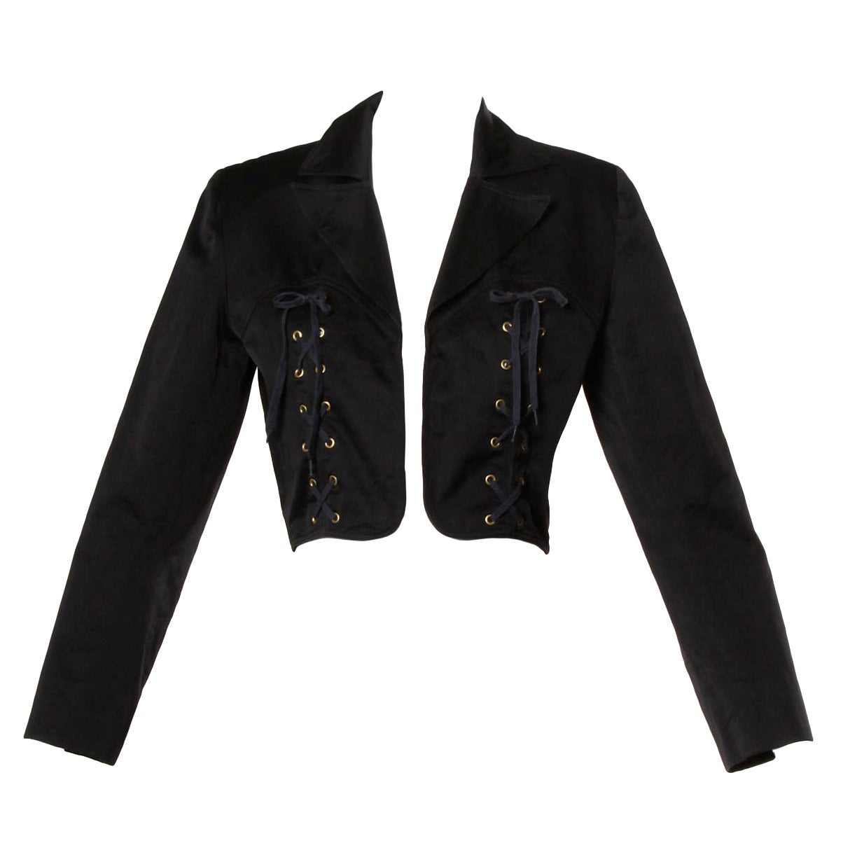 Patrick Kelly Vintage Black Lace Up Grommet Jacket 1