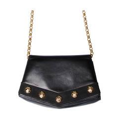 Salvatore Ferragamo Vintage Black Leather Gold Studded Bag or Purse