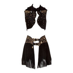 Rare Kathrine Baumann Vintage Studded Leather Fringe Skirt 3-Piece Ensemble