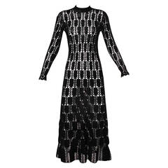 Holocaust Survivor Mady Gerrard Vintage Black Hand Crochet Dress