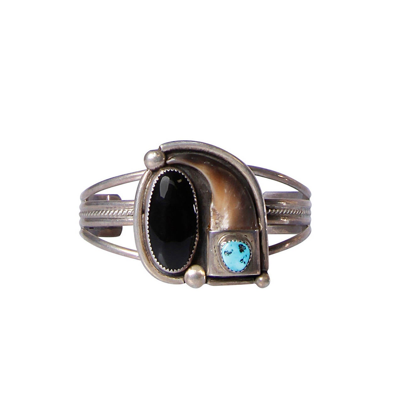 Signed Lutz Whitebird Cherokee Bear Claw, Turquoise + Sterling Cuff Bracelet 1