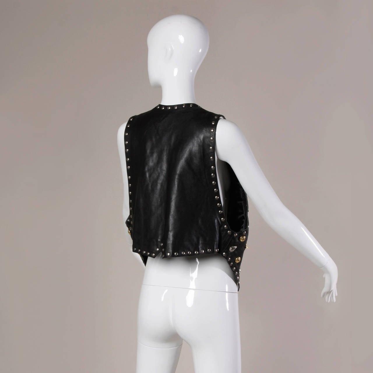 Vintage Leather Vest with Concho, Cowboy Boots, + Horse Studs 6