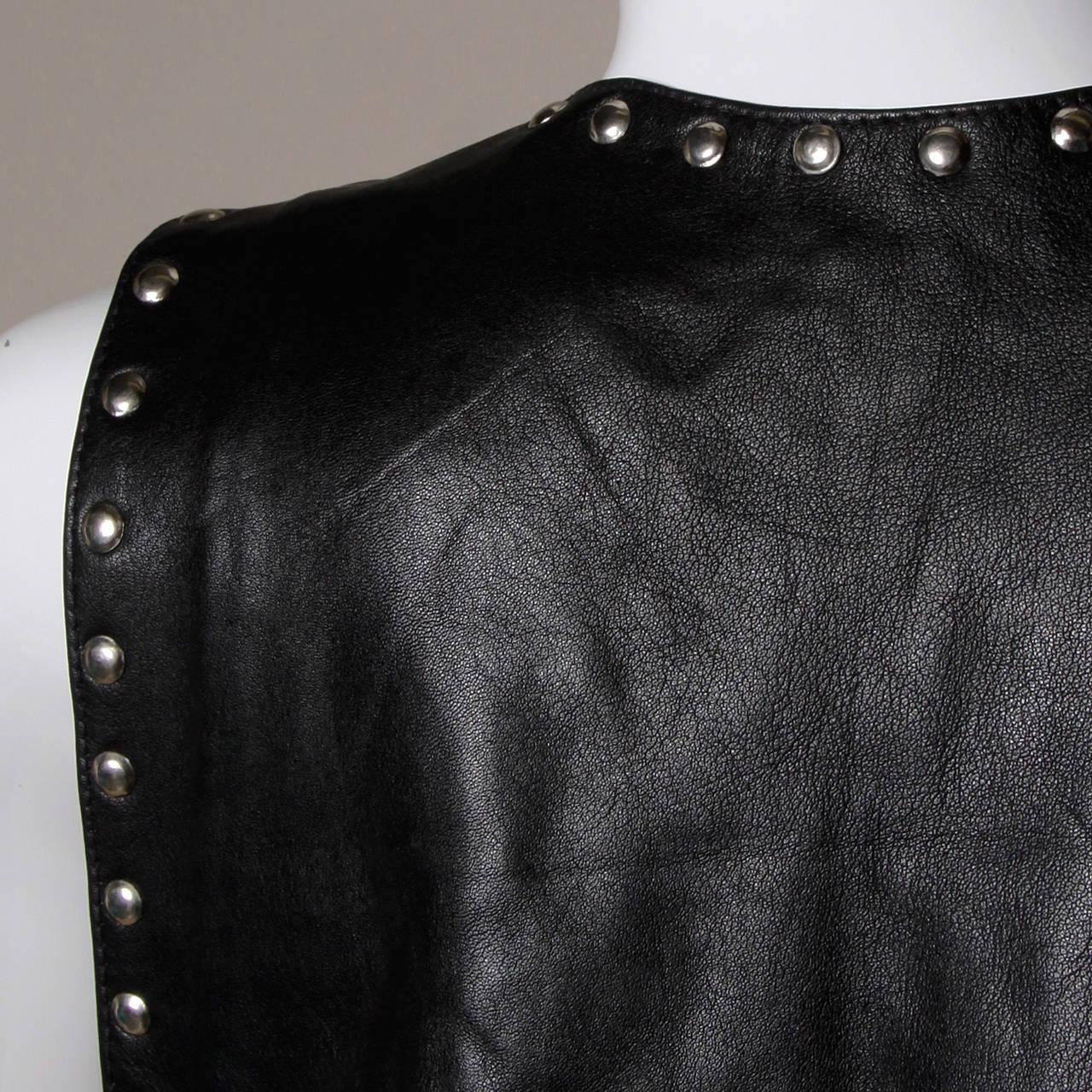 Vintage Leather Vest with Concho, Cowboy Boots, + Horse Studs 8