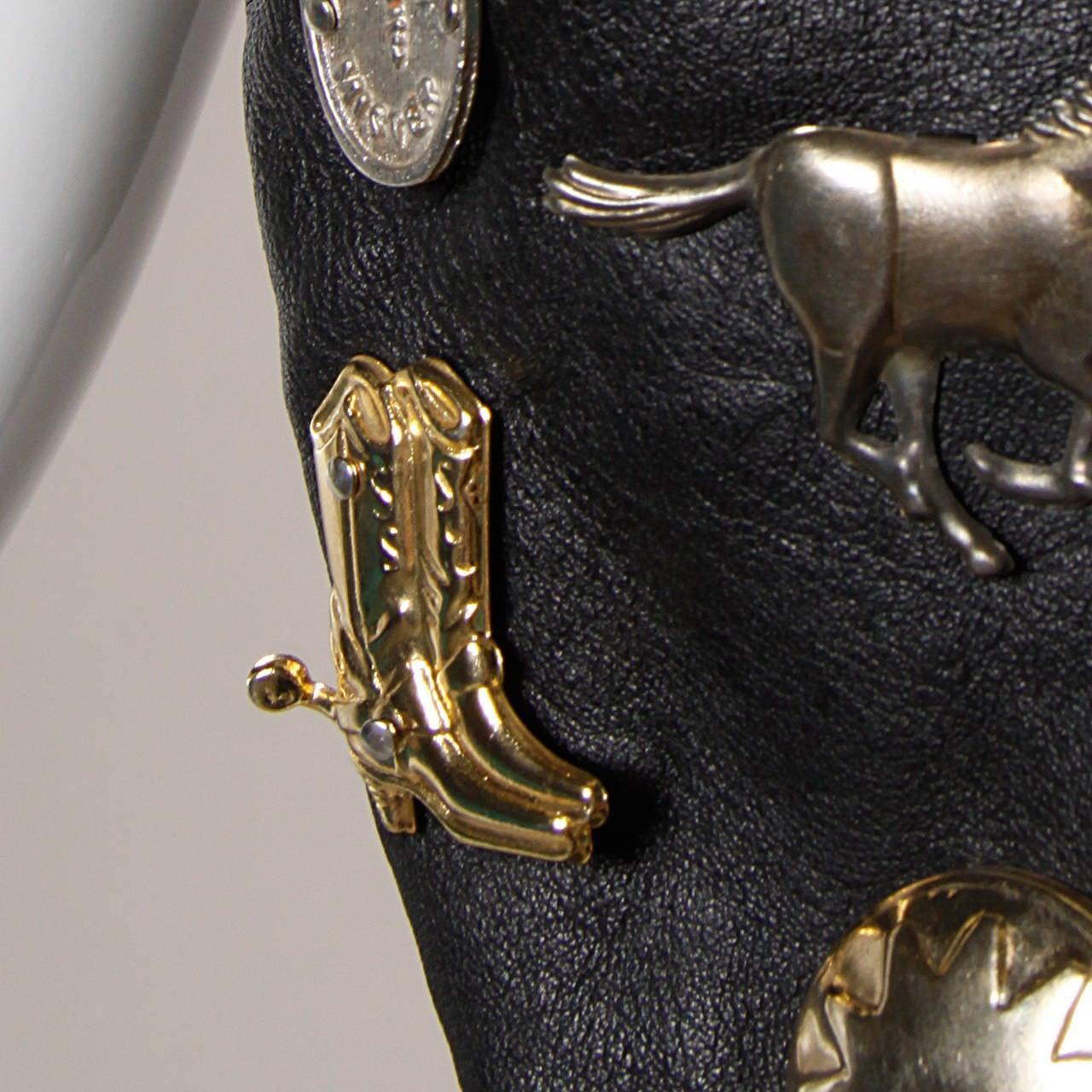 Vintage Leather Vest with Concho, Cowboy Boots, + Horse Studs 4
