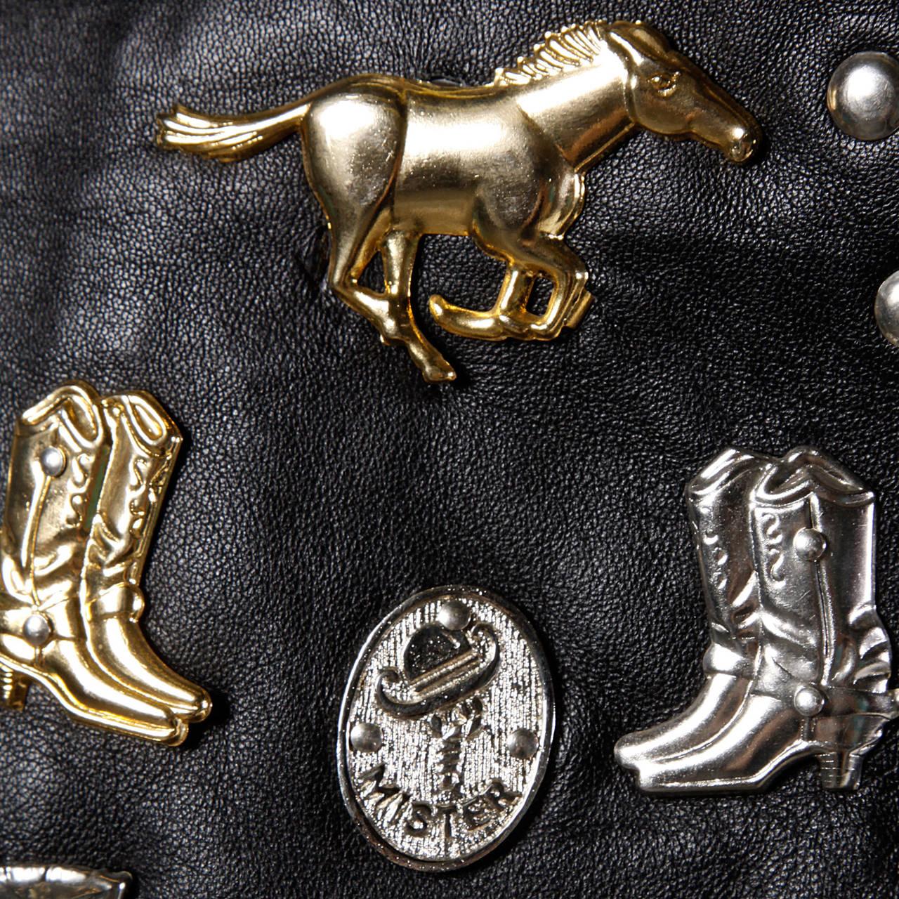 Vintage Leather Vest with Concho, Cowboy Boots, + Horse Studs 3