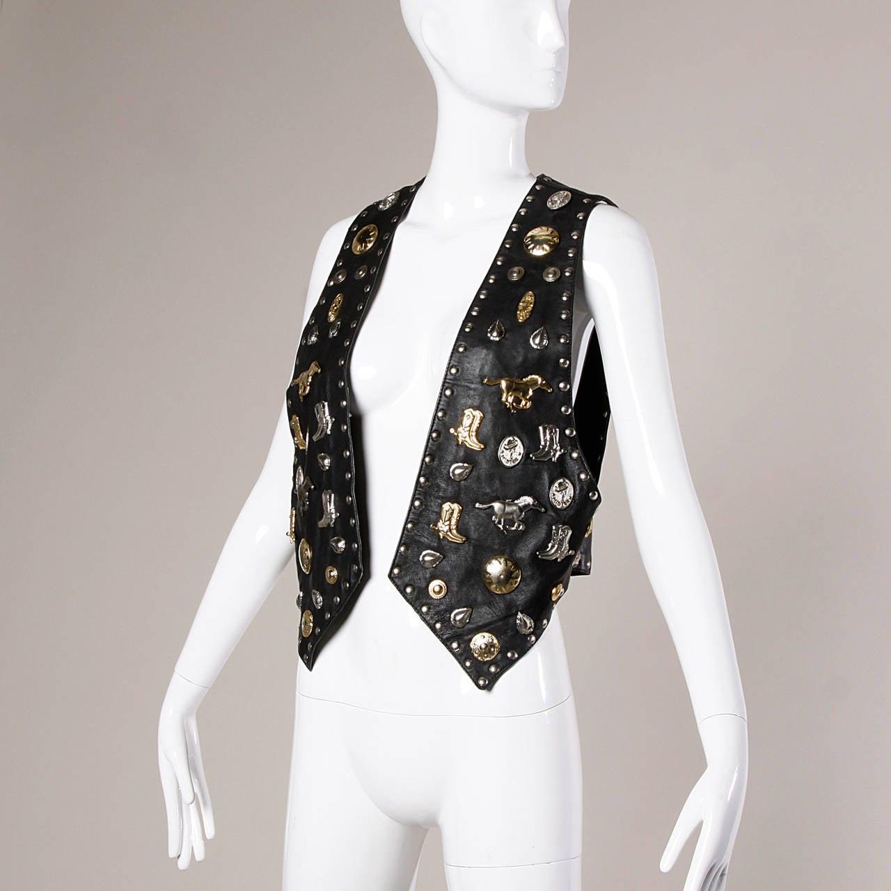 Vintage Leather Vest with Concho, Cowboy Boots, + Horse Studs 5