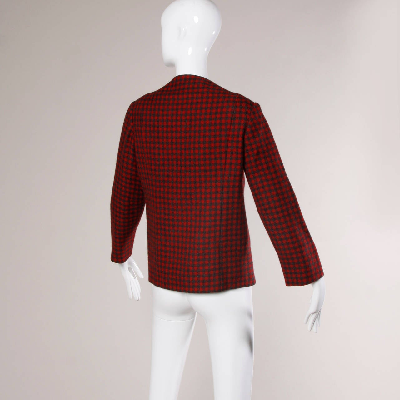 Vintage 1960's Pauline Trigere Houndstooth Jacket For Sale 1