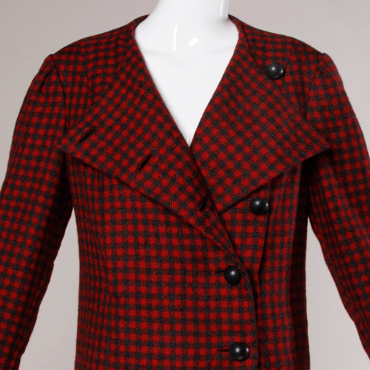 Red and charcoal gray wool houndstooth jacket by Pauline Trigere. 