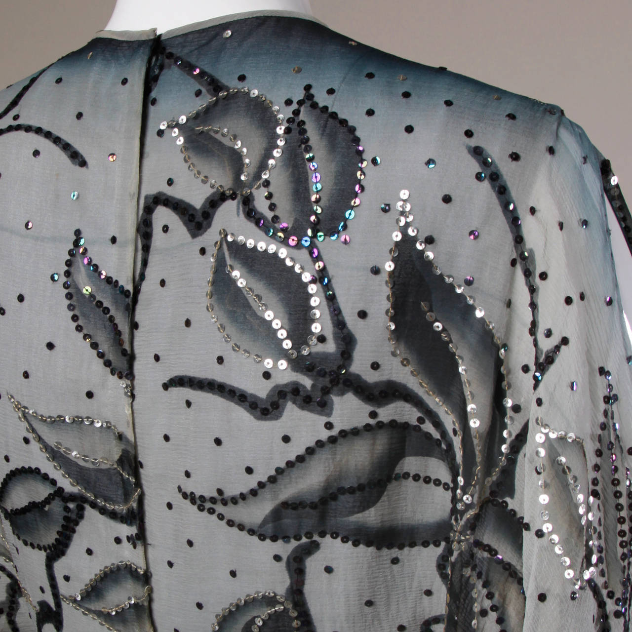 1970s Vintage Hand Painted Silk Ombre Silk Gown with Sequin Embellishment In Excellent Condition In Sparks, NV