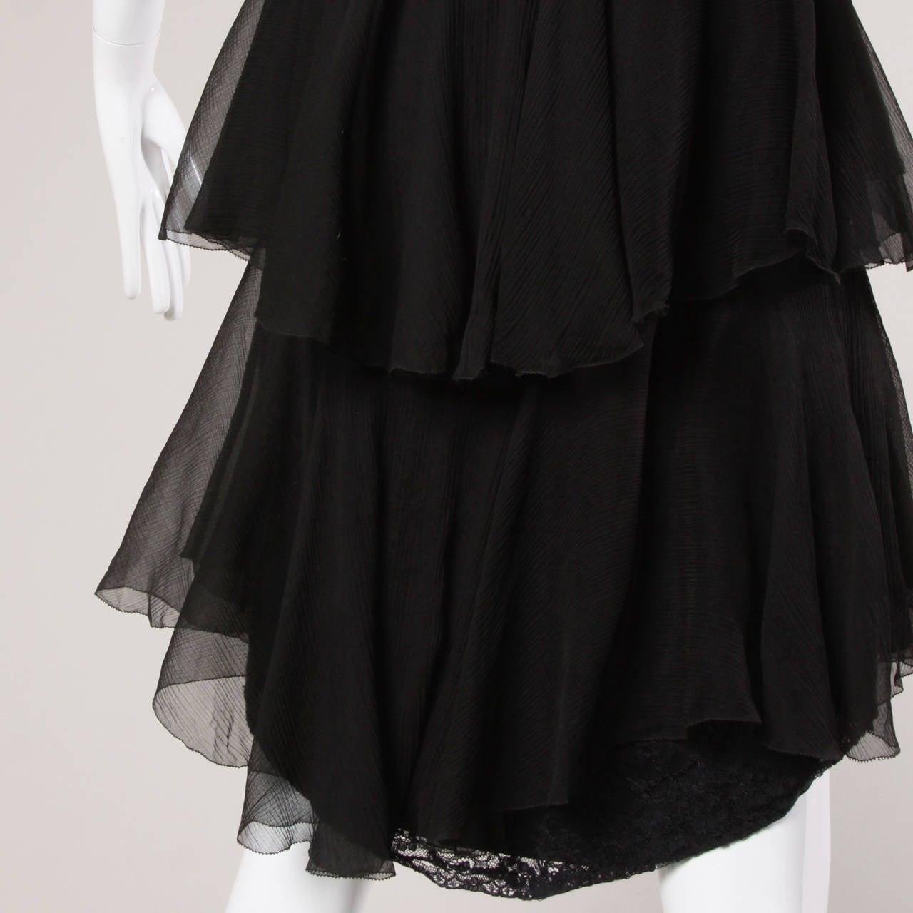 04b443fb9768e 1920s Vintage Black Silk Chiffon Flapper Dress with Rhinestone Belt For Sale  1