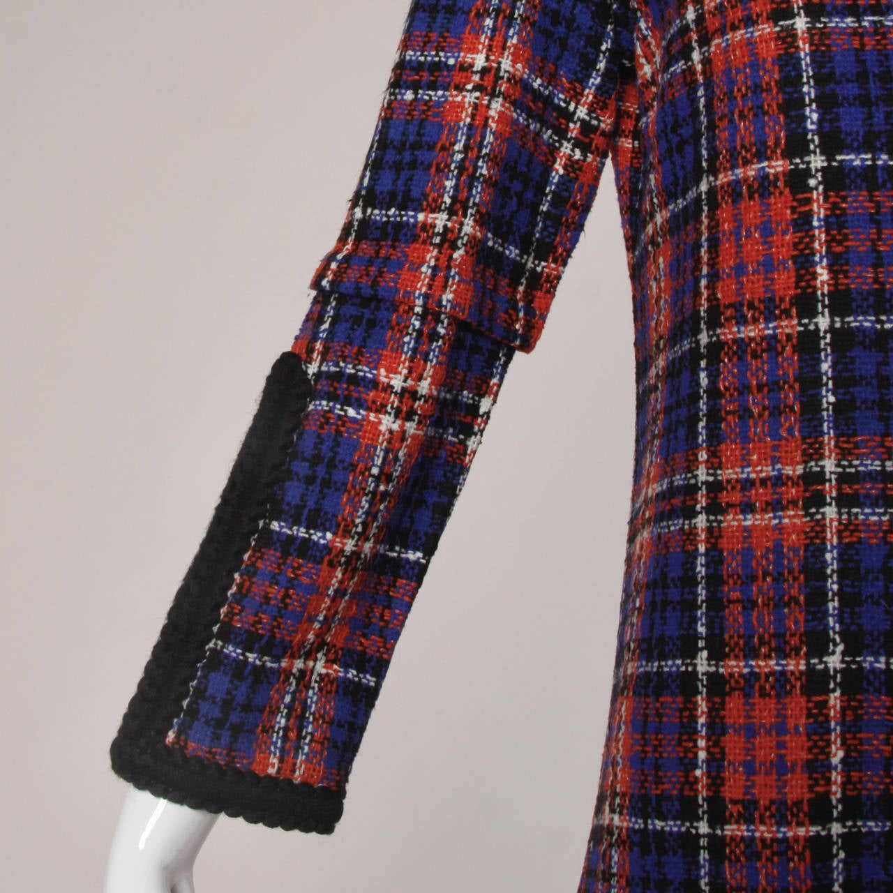 Oscar de la Renta Vintage 1960s Plaid Dress For Sale 1