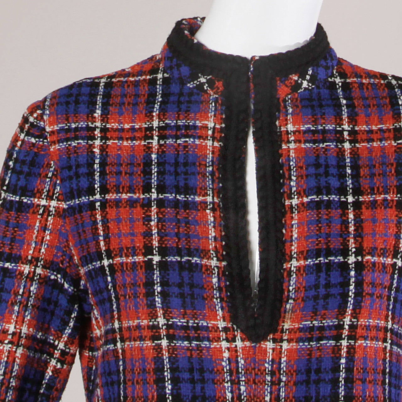 Black Oscar de la Renta Vintage 1960s Plaid Dress For Sale