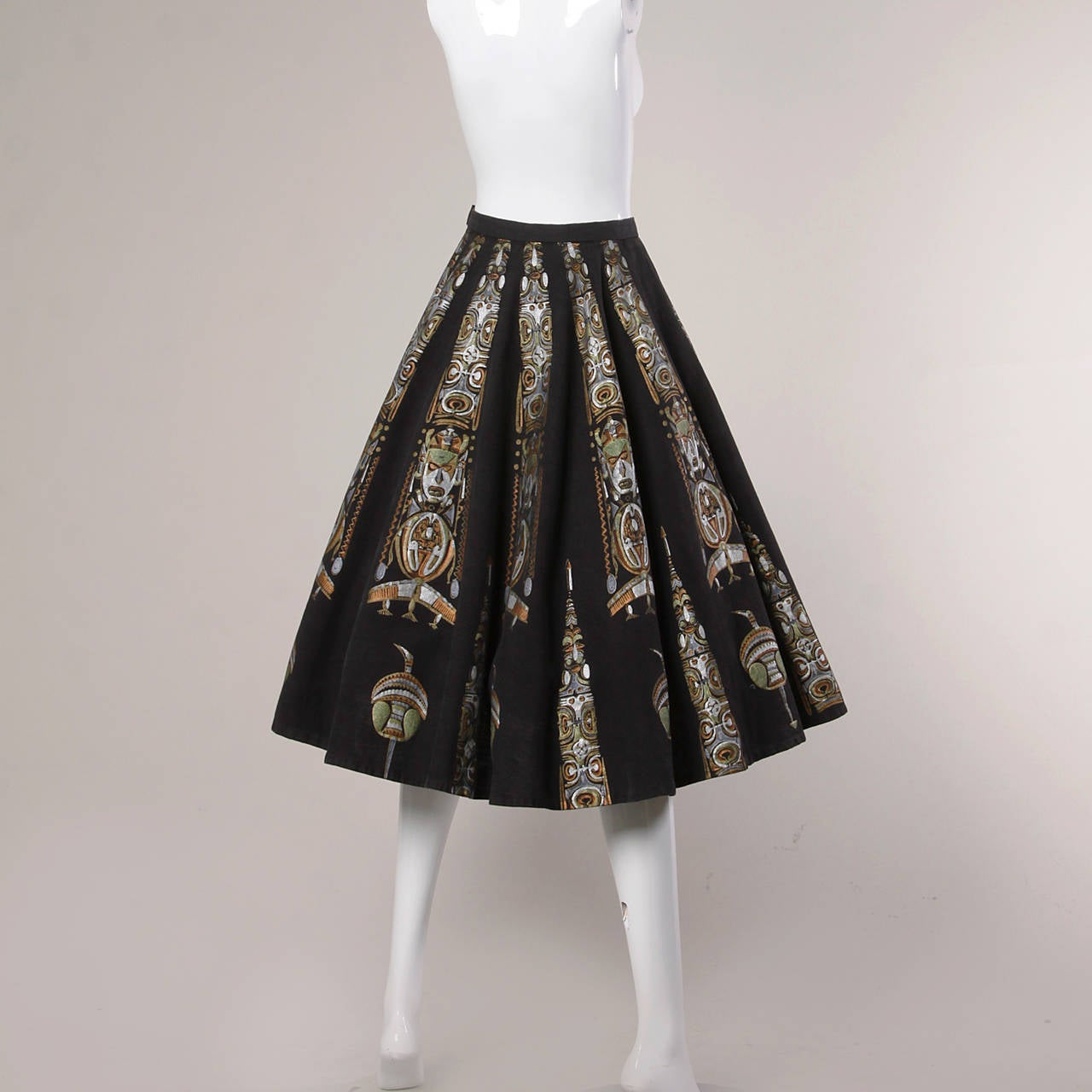 1950s Metallic Hand Painted Mexican Circle Skirt 7