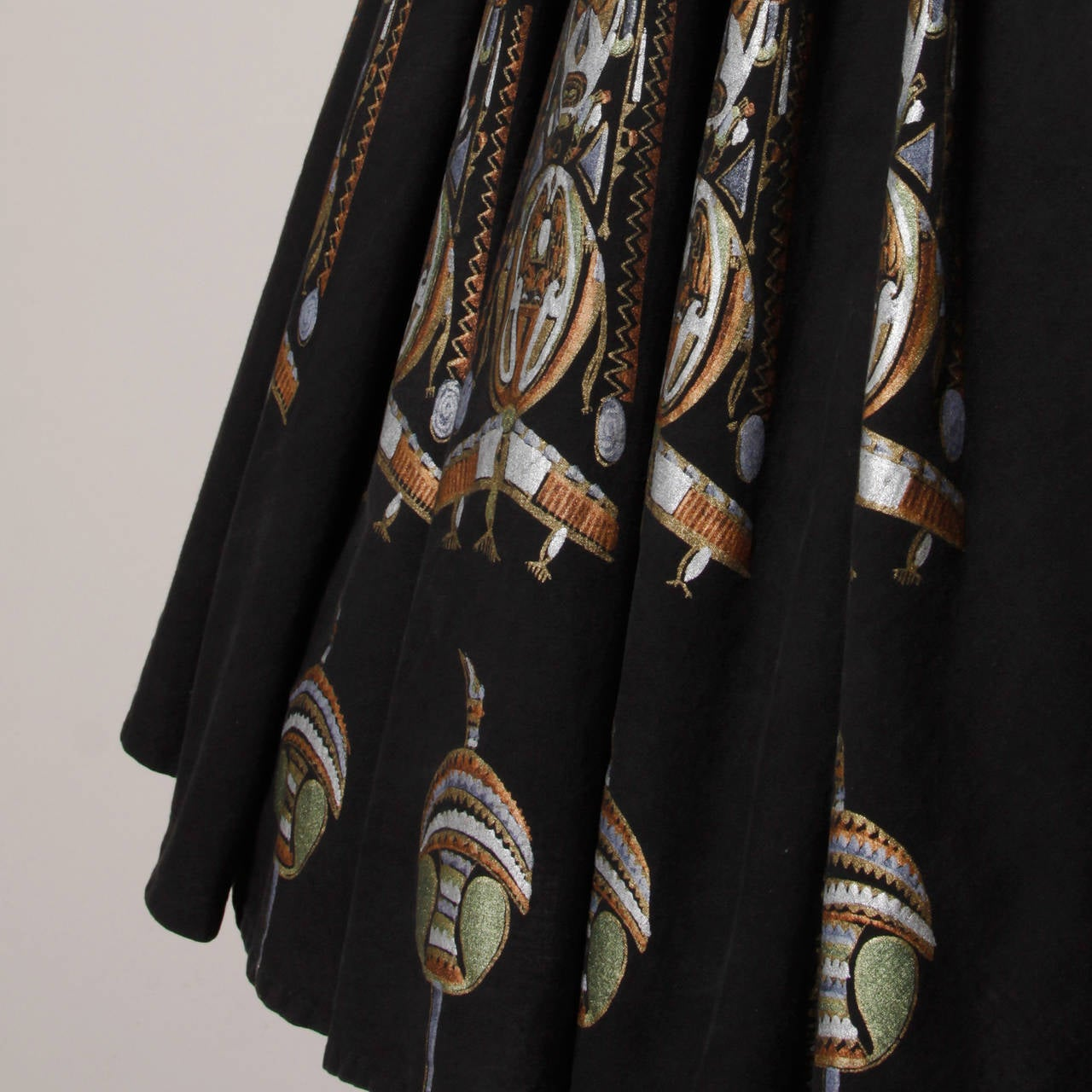 1950s Metallic Hand Painted Mexican Circle Skirt 5