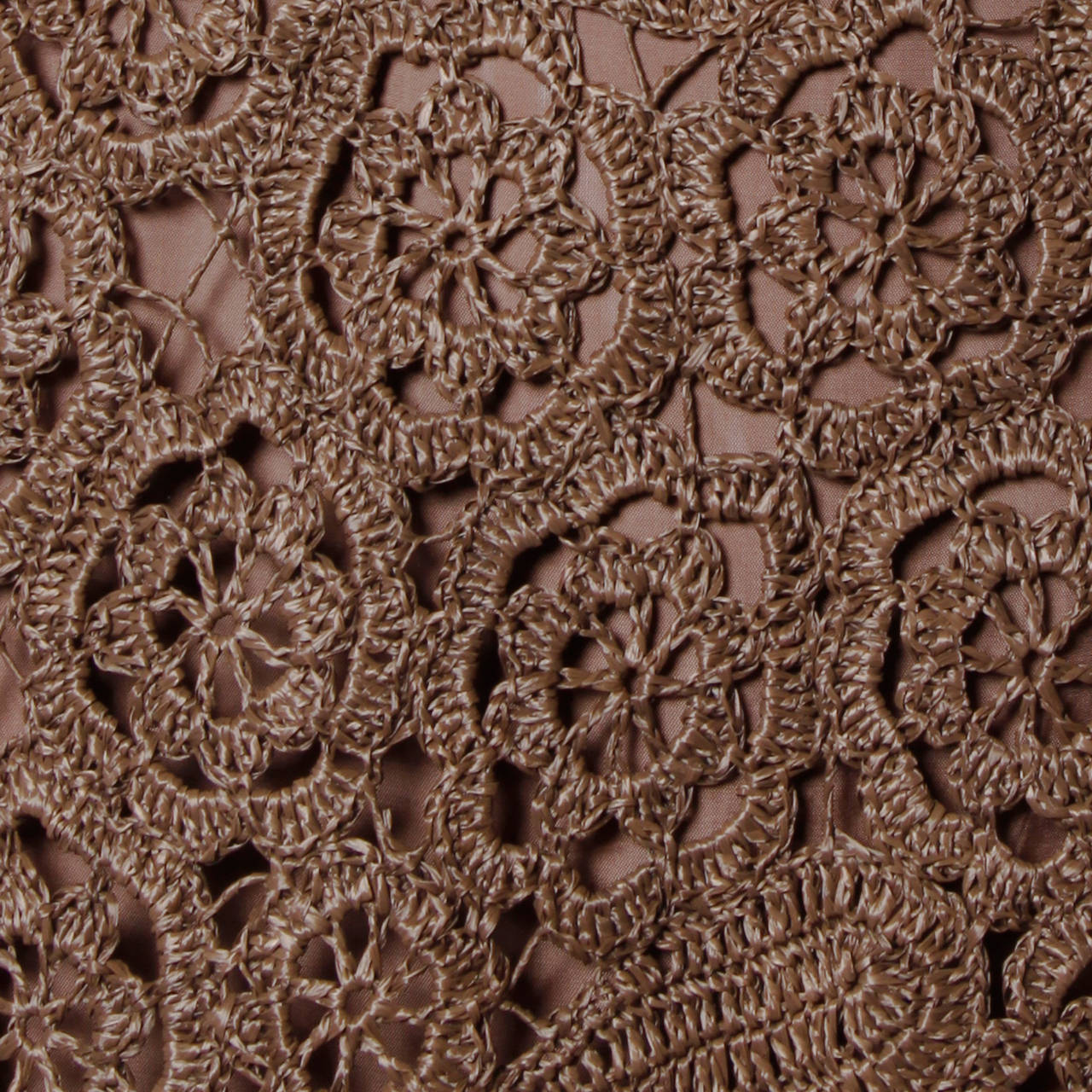 1960s Brown Scalloped Hand Crochet Raffia Lace Shift Dress For Sale 2