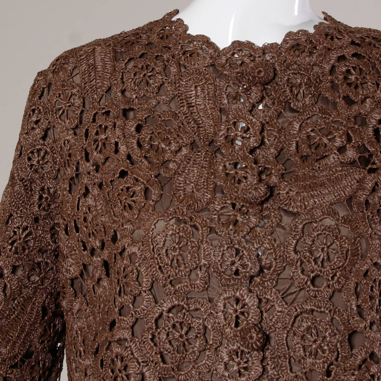 Black 1960s Brown Scalloped Hand Crochet Raffia Lace Jacket or Coat For Sale