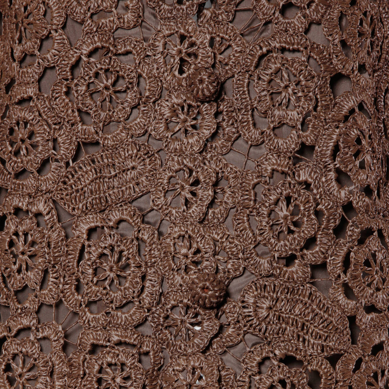 Women's 1960s Brown Scalloped Hand Crochet Raffia Lace Jacket or Coat For Sale