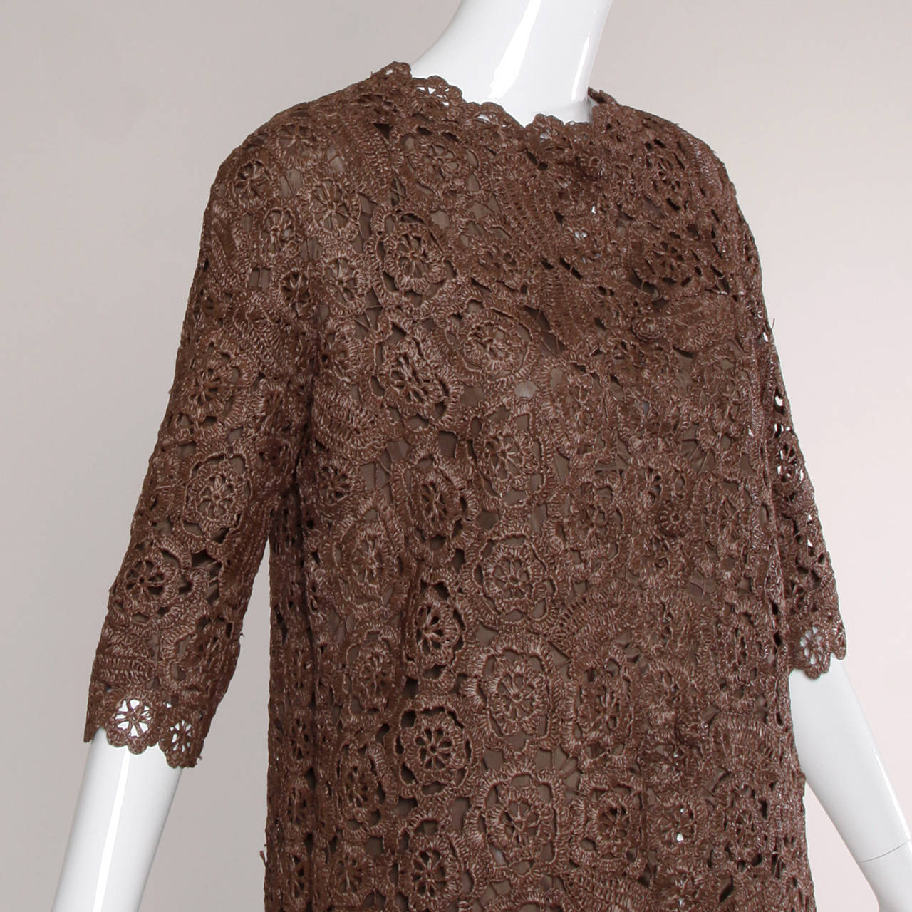 1960s Brown Scalloped Hand Crochet Raffia Lace Jacket or Coat For Sale 1
