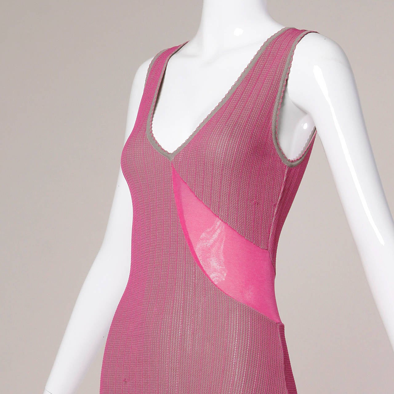 Herve Leger 1990s 90s Pink + Gray Knit Cut Out Sheer Mesh Bandage Maxi Dress 2