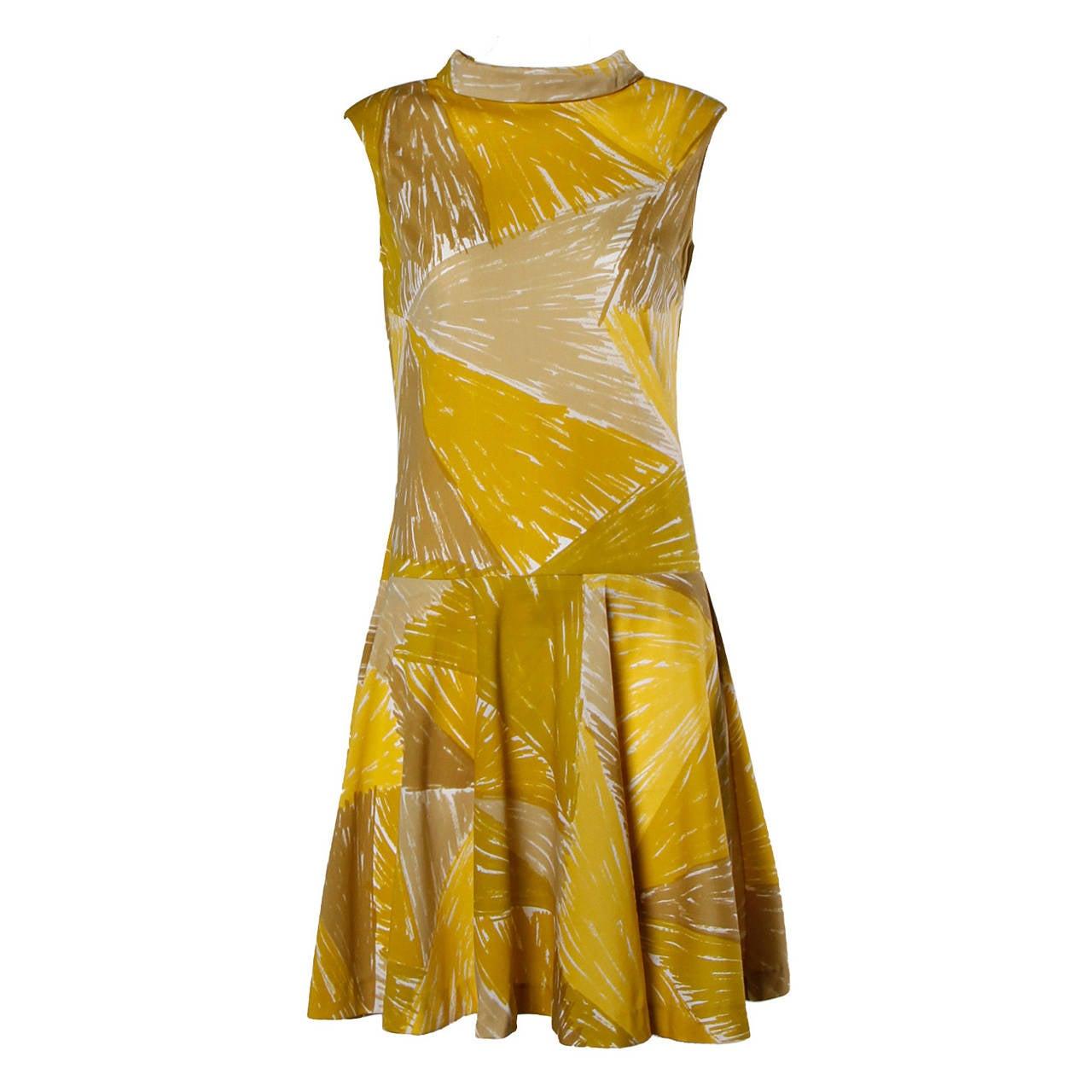 Vera Neumann Vintage 1960s Yellow Mod Painterly Print Mini Dress For Sale