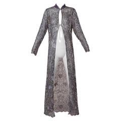 Silk Chiffon + Glass Beaded Kimono Duster Jacket or Maxi Coat