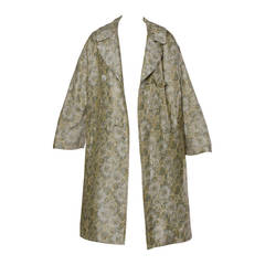 Joseph Magnin 1960s Vintage Metallic Brocade Tapestry Trench Coat