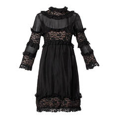Sarmi 1960s Vintage Black Nude Illusion Lace + Silk Dress