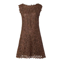 1960s Brown Scalloped Hand Crochet Raffia Lace Shift Dress