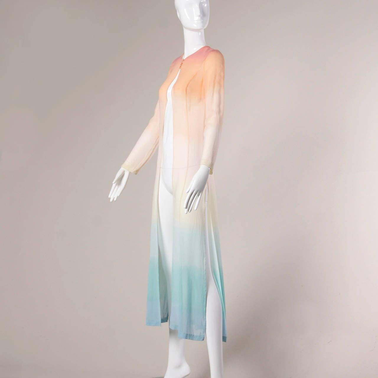 Louis Feraud Vintage Ombre Silk Kimono Duster or Maxi Coat 3