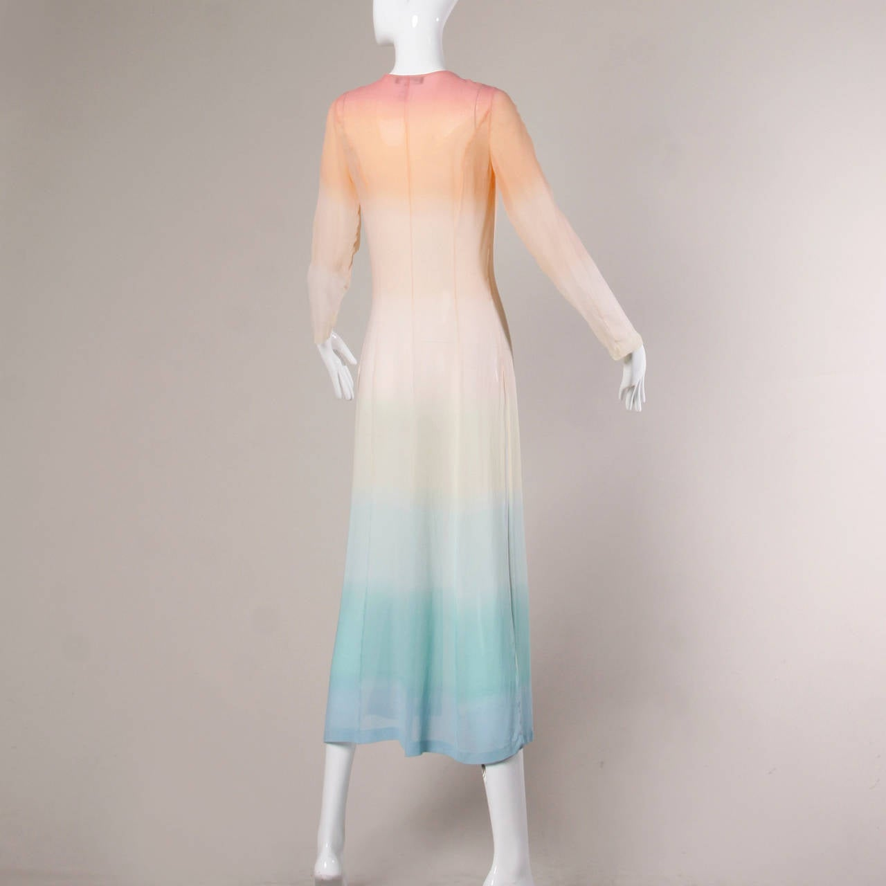 Louis Feraud Vintage Ombre Silk Kimono Duster or Maxi Coat 5