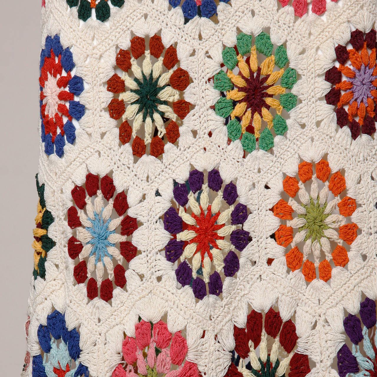 1970s Vintage Colorful Hand-Crochet Boho Maxi Skirt 3