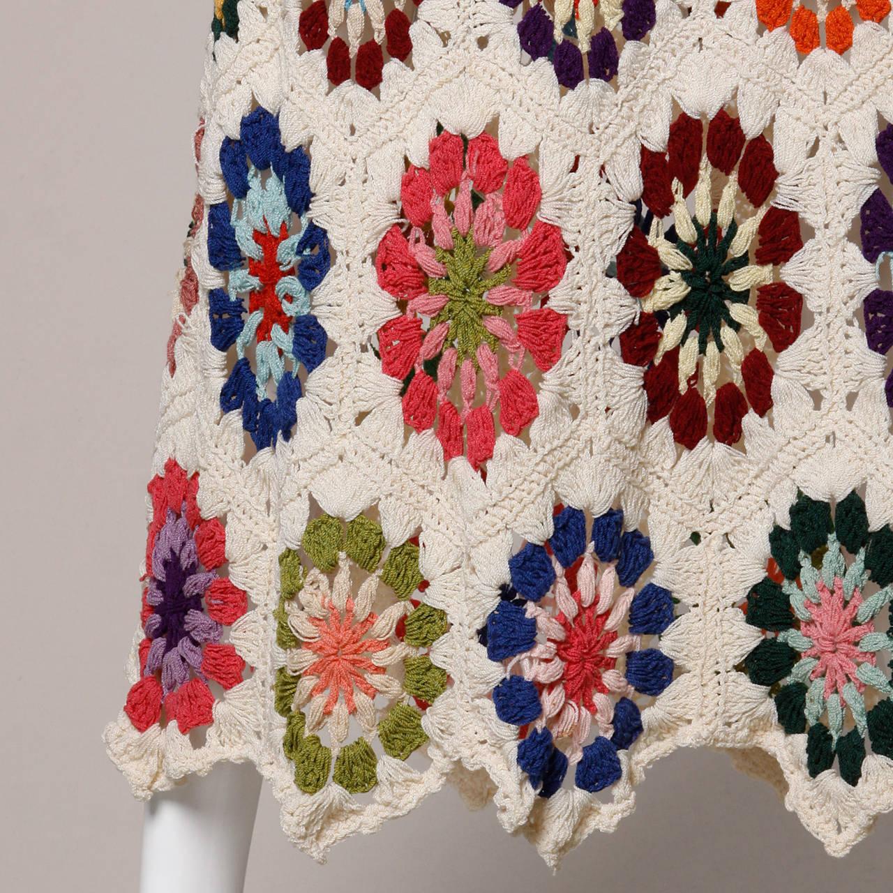 1970s Vintage Colorful Hand-Crochet Boho Maxi Skirt 5