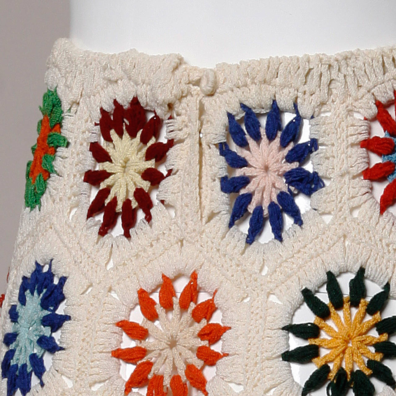 1970s Vintage Colorful Hand-Crochet Boho Maxi Skirt 6