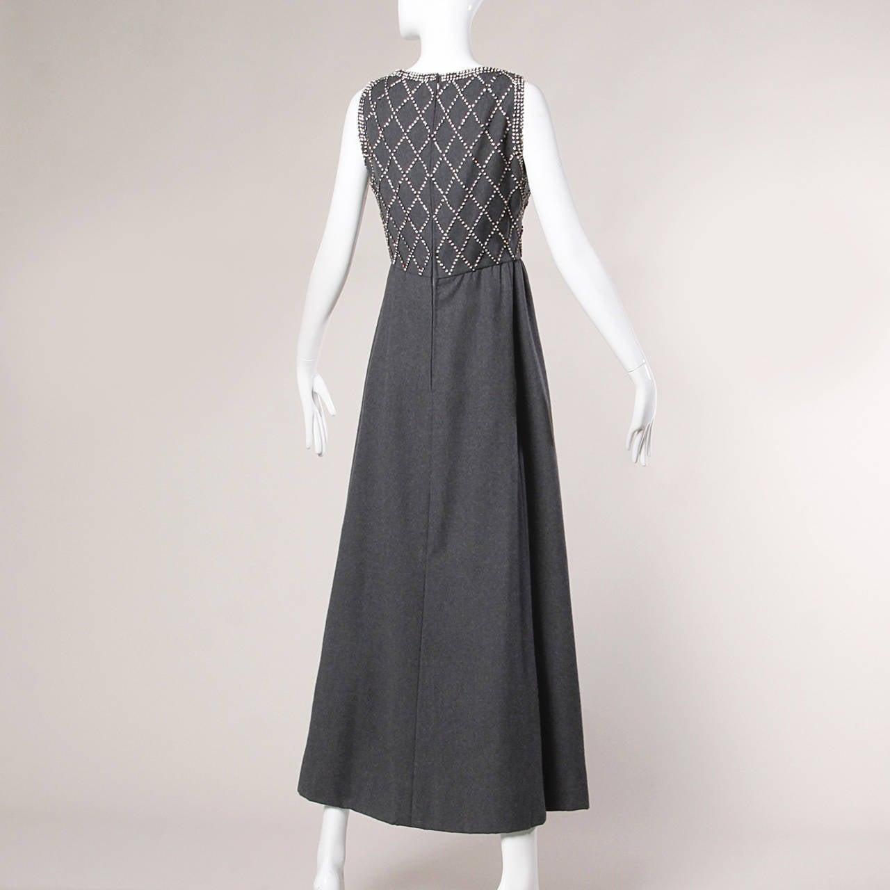 Black Malcolm Starr Vintage 1960s Gray Wool Rhinestone Embellished Maxi Dress For Sale