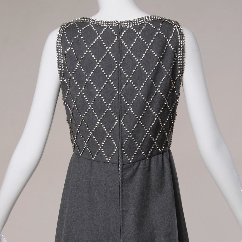 Malcolm Starr Vintage 1960s Gray Wool Rhinestone Embellished Maxi Dress In Excellent Condition For Sale In Sparks, NV