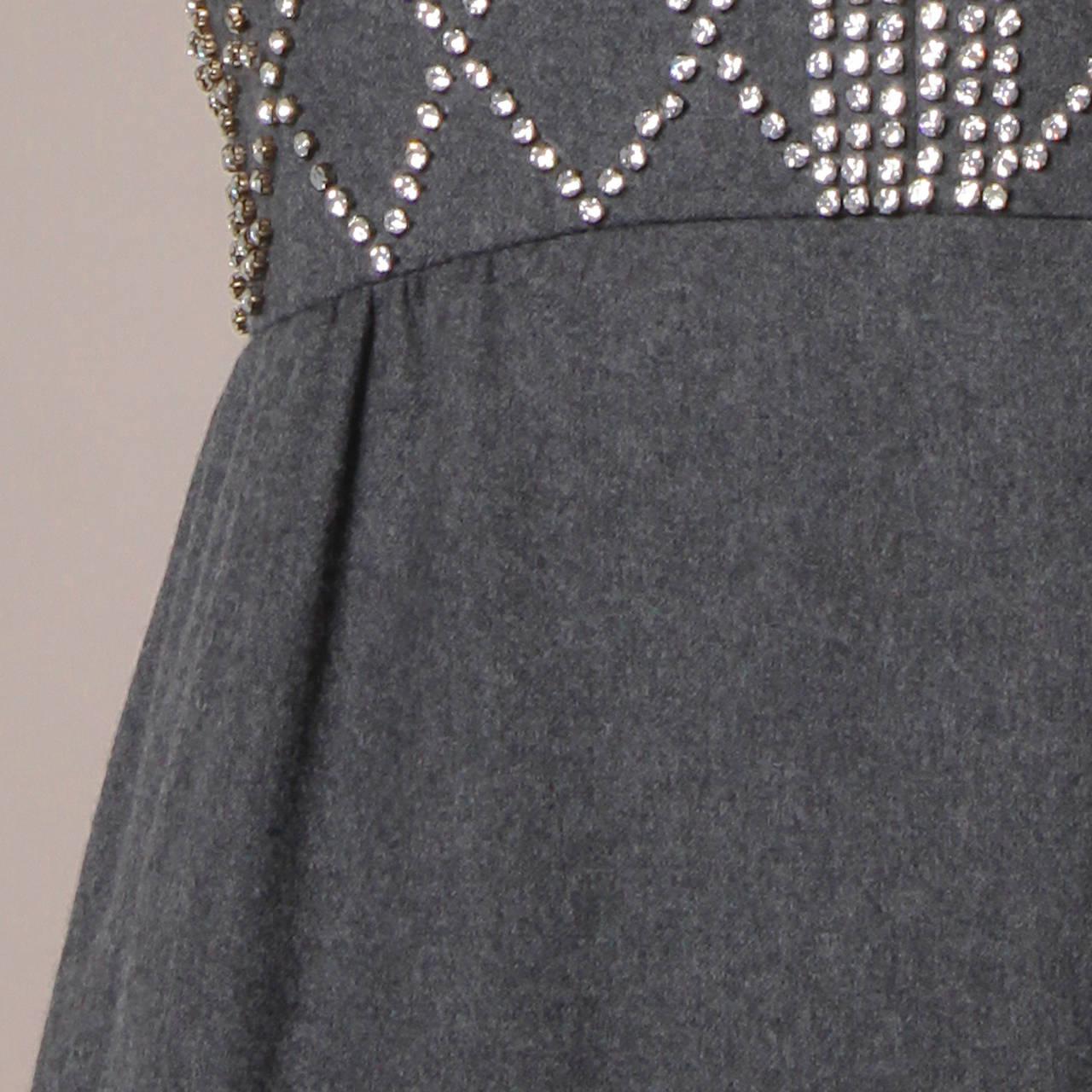 Women's Malcolm Starr Vintage 1960s Gray Wool Rhinestone Embellished Maxi Dress For Sale