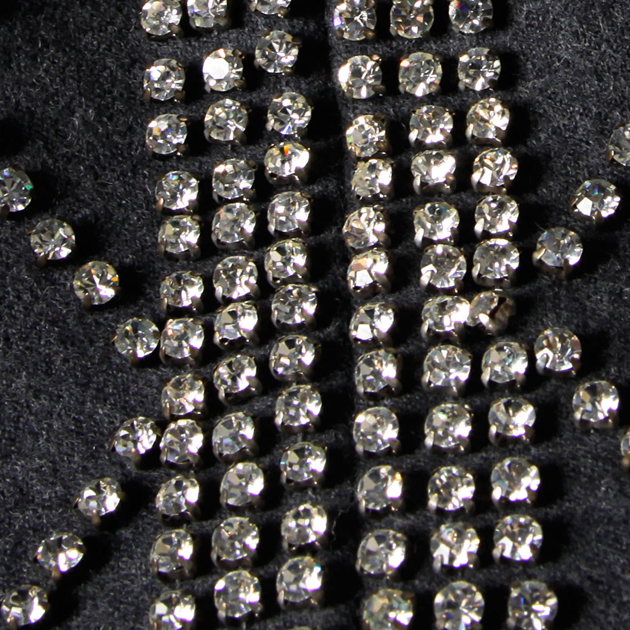 Malcolm Starr Vintage 1960s Gray Wool Rhinestone Embellished Maxi Dress For Sale 1