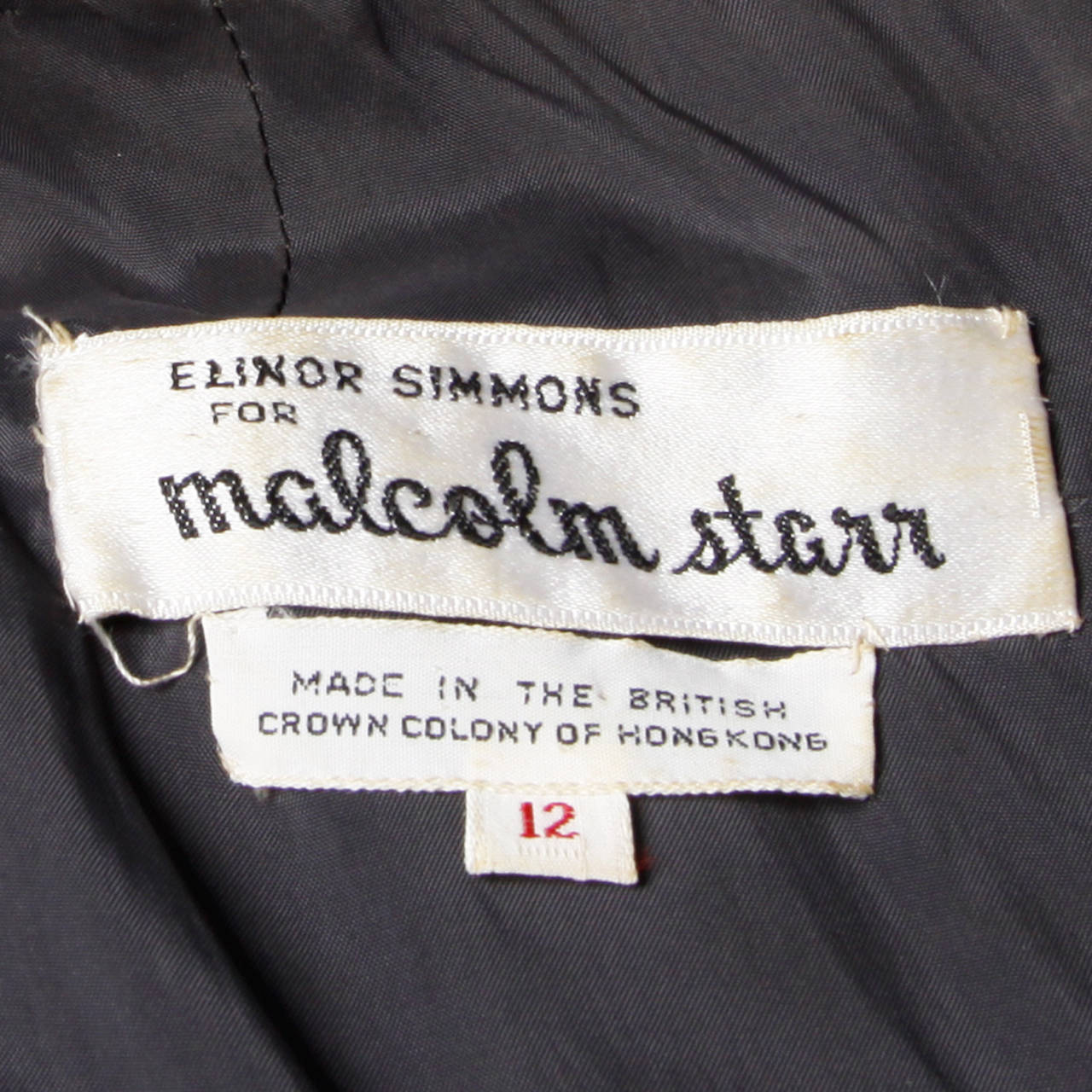Malcolm Starr Vintage 1960s Gray Wool Rhinestone Embellished Maxi Dress For Sale 2