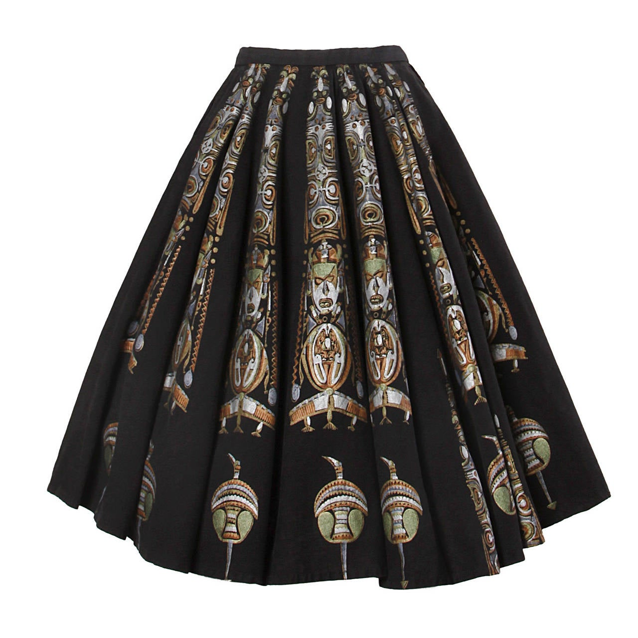 1950s Metallic Hand Painted Mexican Circle Skirt 1