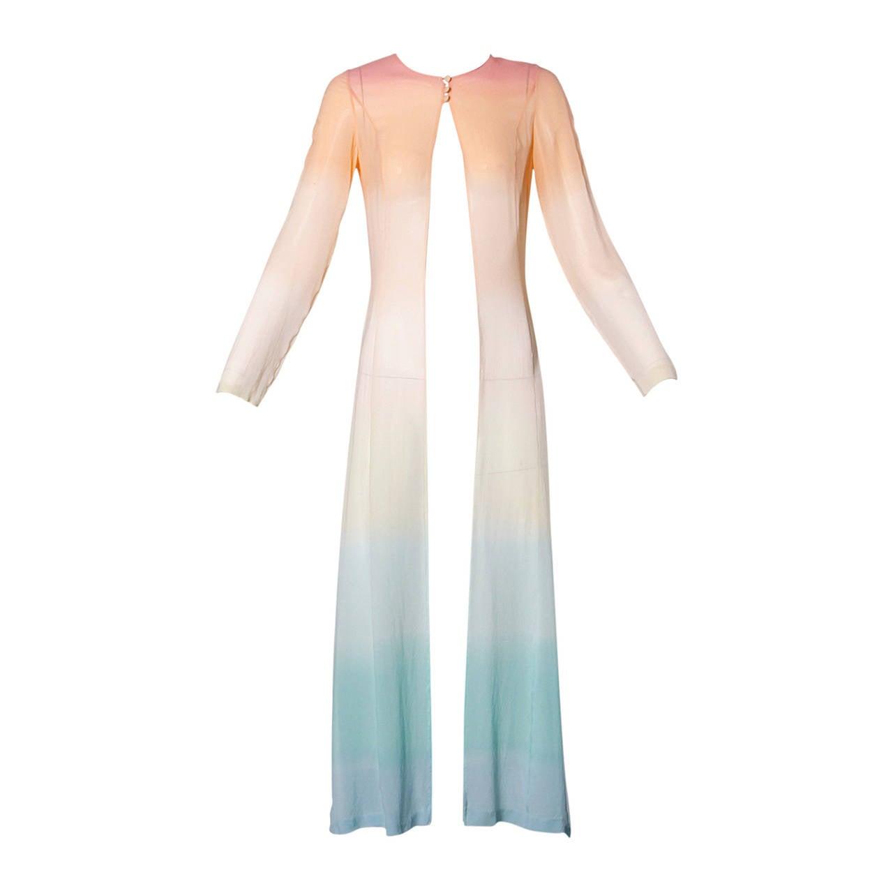Louis Feraud Vintage Ombre Silk Kimono Duster or Maxi Coat 1
