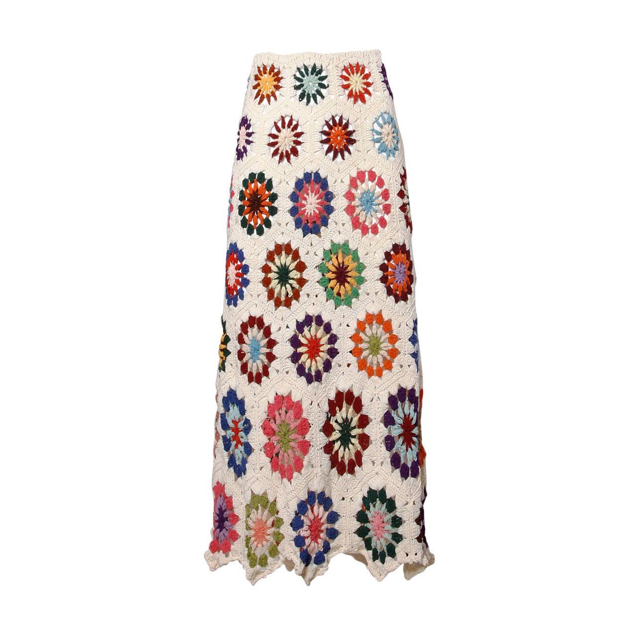 1970s Vintage Colorful Hand-Crochet Boho Maxi Skirt 1