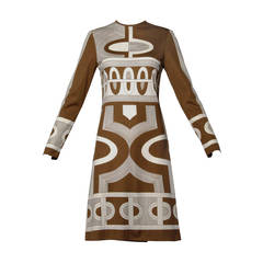 1960s Signed Paganne Vintage Brown Op Art Geometric Print Dress