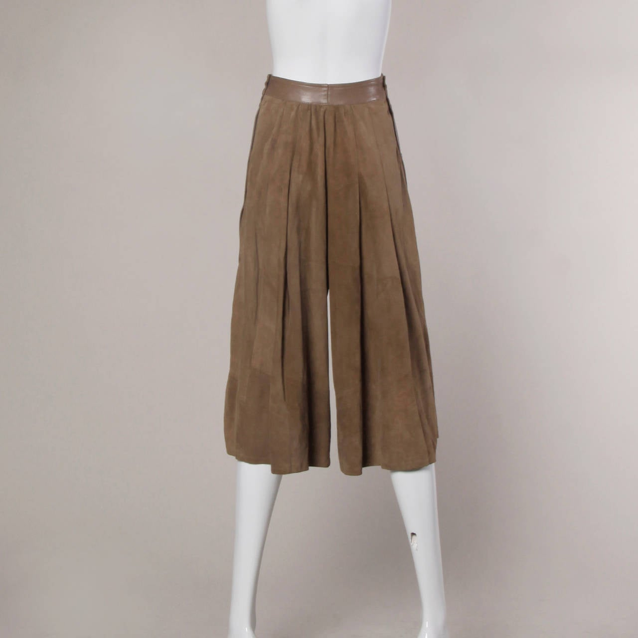 Valentino Vintage Brown Buttery Leather Culottes Shorts At