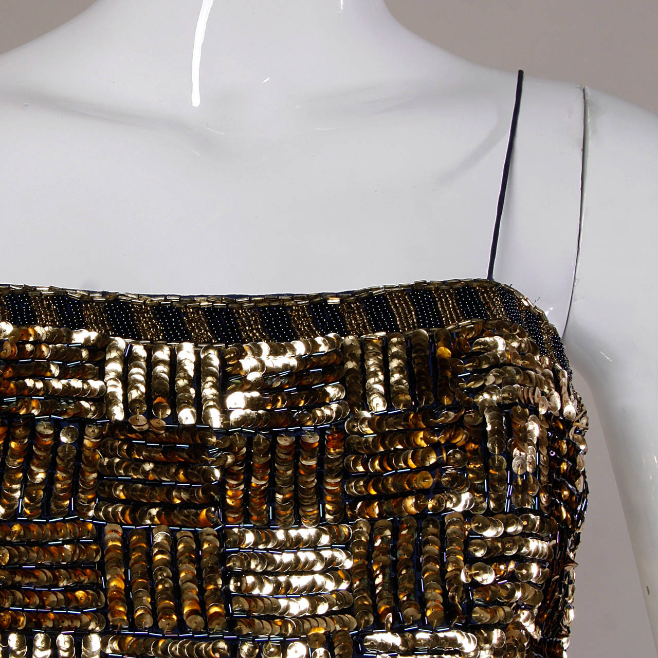 Black Bill Blass Vintage Metallic Gold & Blue Sequin + Beaded Cocktail Dress For Sale