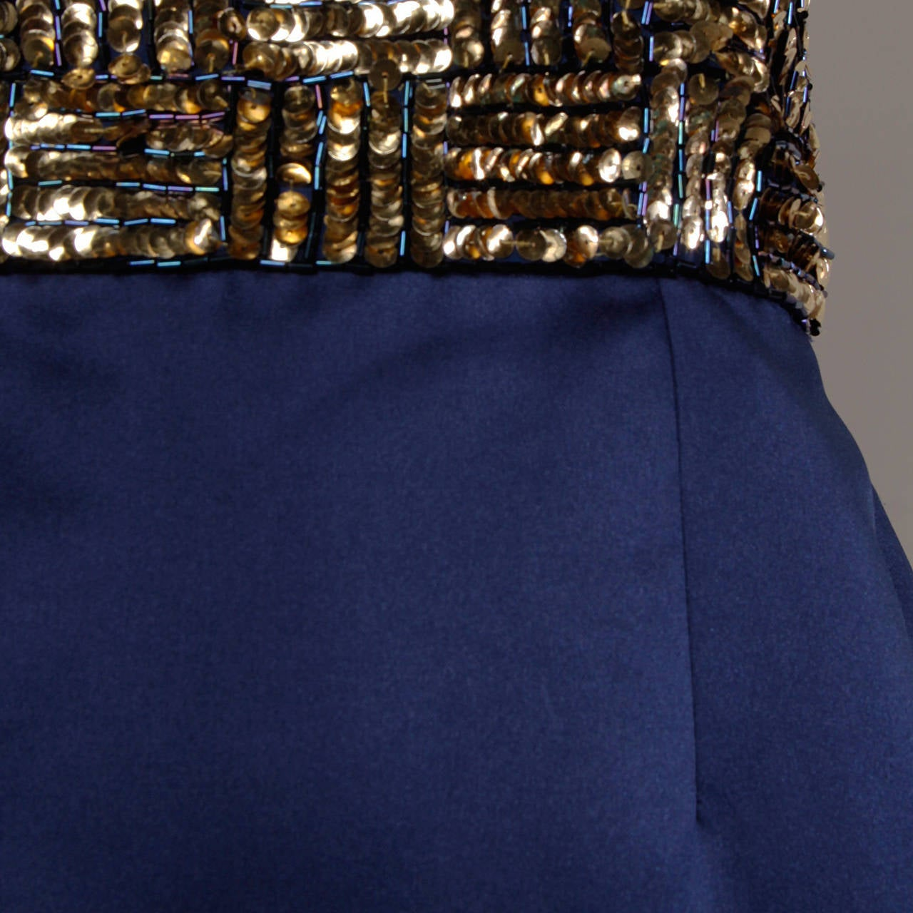 Bill Blass Vintage Metallic Gold & Blue Sequin + Beaded Cocktail Dress For Sale 1