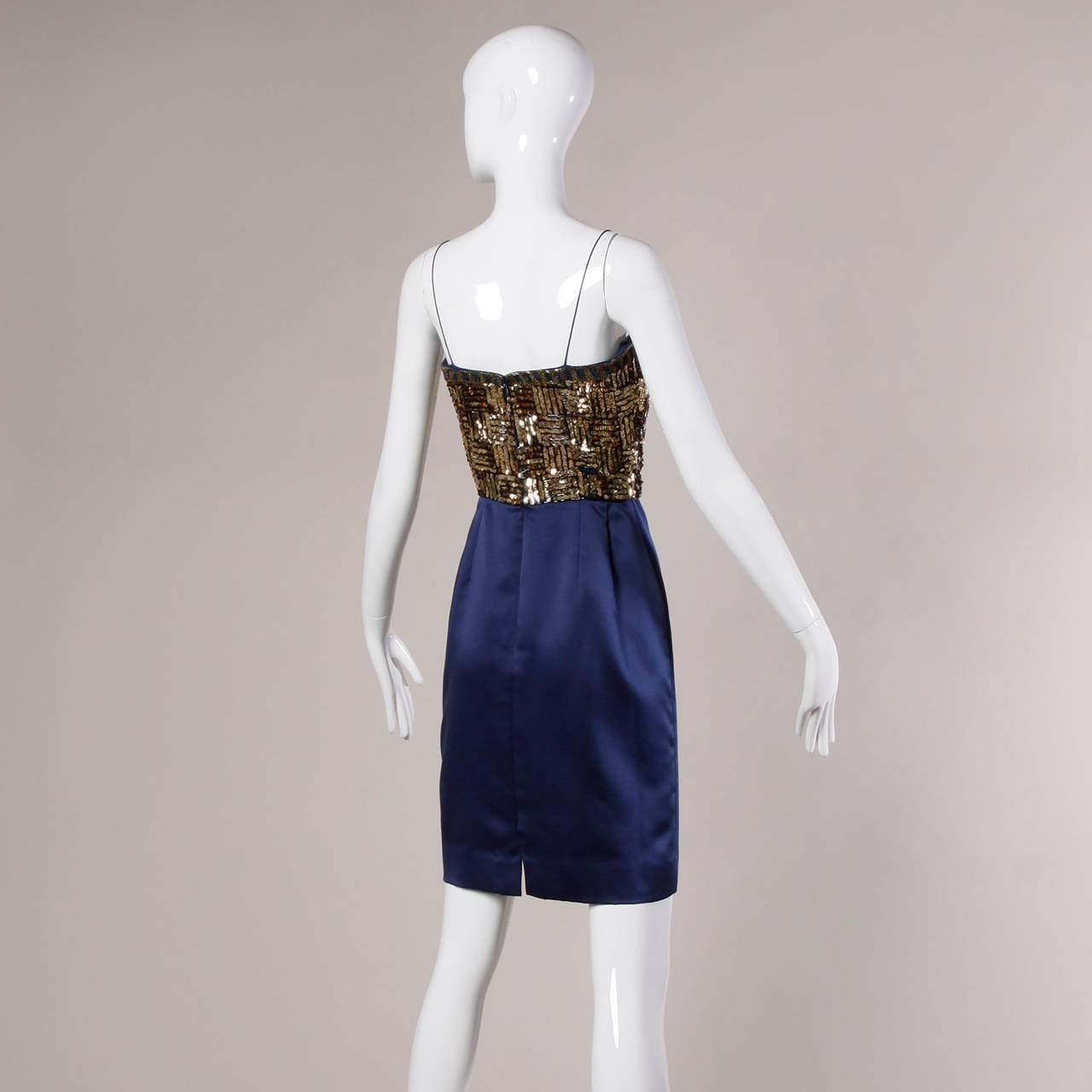 Women's Bill Blass Vintage Metallic Gold & Blue Sequin + Beaded Cocktail Dress For Sale