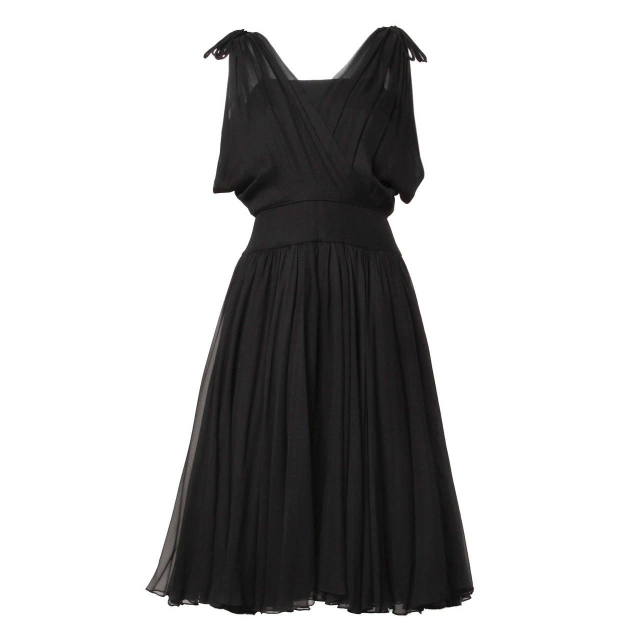 1950s Amazing Vintage Silk Chiffon Full Circle Cocktail Dress