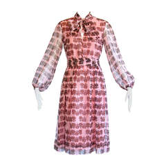 Helga Vintage 1970s 70s Sheer Floral Print Dress with Ascot Bow Tie