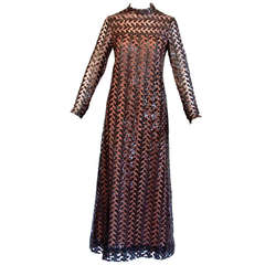 Richilene Vintage 1970s 70s Brown Silk + Sequin Sheer Maxi Dress/ Gown
